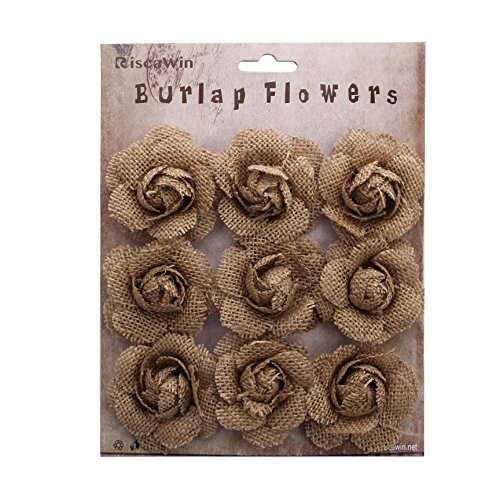 RiscaWin (9 Pcs) Crafts Handmade Burlap Small Rose Flowers DIY Findings Shabby Chic Flowers(Mini Roses) -
