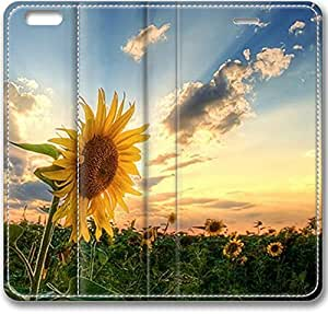 E-luckiycase Leather Cover Sunflower Landscape Case For HTC One M8 Cover Case (Inch)