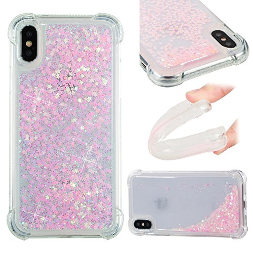 Maoerdo Galaxy S5 Case,Glitter Bling Sparkle Shiny Case for Girls Women Liquid Quicksand Flowing Soft TPU Phone Case Protective Cover for Samsung Galaxy S5 - Light Pink (S5 Hello Kitty Bling Case)