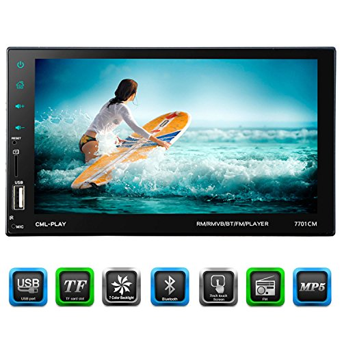Carlike 7″ Double Din Touchscreen In Dash Stereo Car Receiver Audio Video Player Bluetooth FM Radio MP3/TF/USB/AUX-in/Steering wheel controls + Remote Control