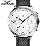 GUANQIN Men White Dial Sport Luminous Wristwatch Leather Band Quartz Watch