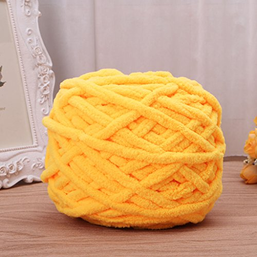 (Mimgo100g/1ball Pure Color Soft Cotton Hand Knitting Yarn Chunky Woven Bulky for Scarf Sweaters Gloves (Yellow))
