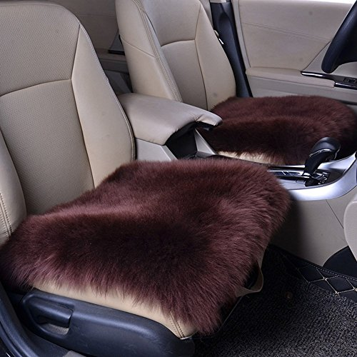 Altopcar Wool Car Interior Seat Cover, Fluffy Faux Sheepskin Seat Cushion Pad Winter Mat Universal Fit for Comfort in Auto, Plane, Office, or Home(18 Inch X 18 Inch) (1 Pcs Coffee)