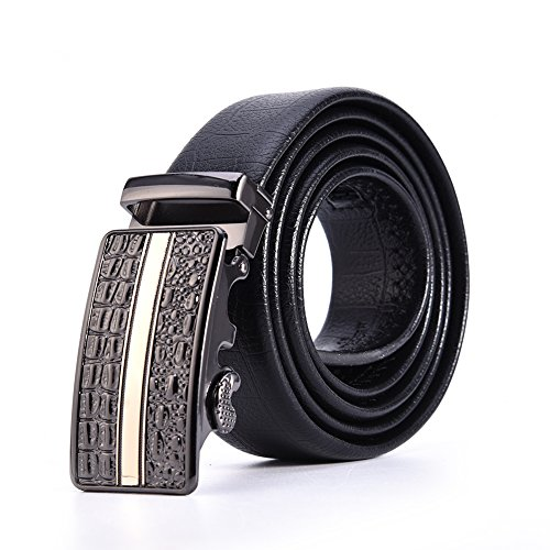 Men's Casual Automatic Buckle Belt, Luxury Style Black Belts with Crocodile Pattern (Gold Crocodile Belt)