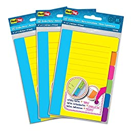 Redi-Tag Divider Sticky Notes, 60 Ruled Notes per Pack, 4\
