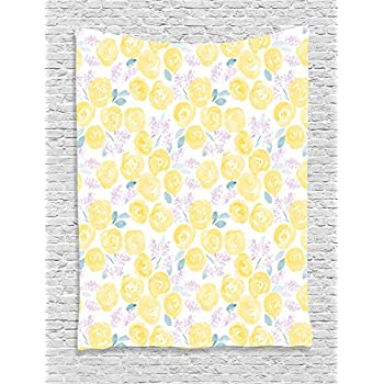 Amazon.com: Ambesonne Watercolor Flower Decor Collection, Pale Roses ...