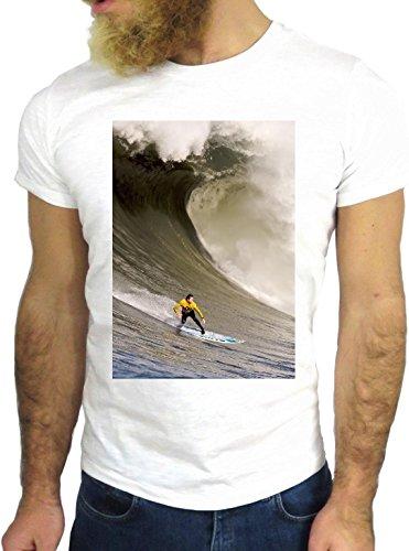 T-SHIRT JODE GGG24 Z1043 OCEAN MAN BOY GUY SURF LANDSCAPE UK AMERICA WAVES BIANCA - WHITE L