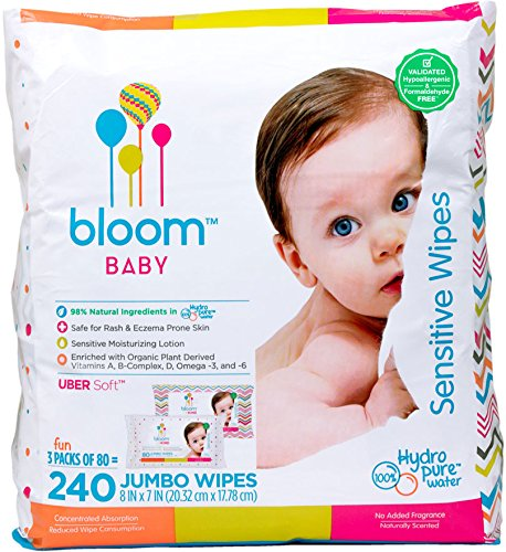 Bloom +KIND Jumbo Sensitive Baby Wipes Unscented, 240-Count