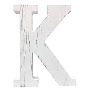 Extra Large Wood Decor Letters Wood Distressed White Letters DIY Block Words Sign Alphabet Free Standing Hanging for Home Bedroom Office Wedding Party (K)