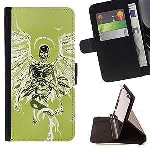 Momo Phone Case / Flip Funda de Cuero Case Cover - Verde Death Angel alas verdes cráneo - Apple Iphone 6 PLUS 5.5