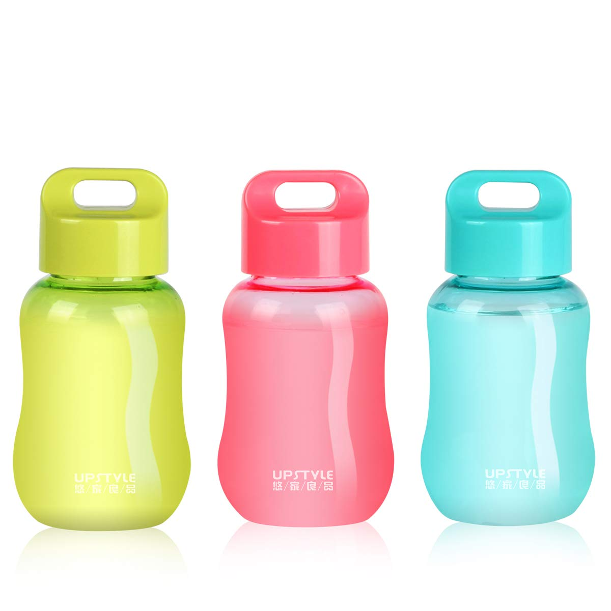 UPSTYLE Mini Plastic Coffee Travel Mugs Water Bottle Sports Water Bottle Cup for Milk, Coffee, Tea, Juice Size 180ml (6oz), Pack of 3