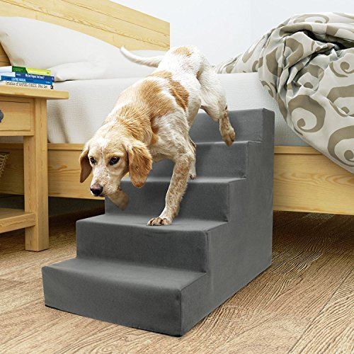 Precious Tails ED2026FSGRY Sherpa High Density Foam Stairs with 5-Steps and Machine Washable Zipper Removable Cover, Gray, 5-Steps by Precious Tails