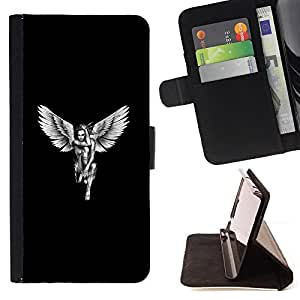 For Motorola Moto X 3rd / Moto X Style Angel White Black Art Woman Naked Wings Style PU Leather Case Wallet Flip Stand Flap Closure Cover