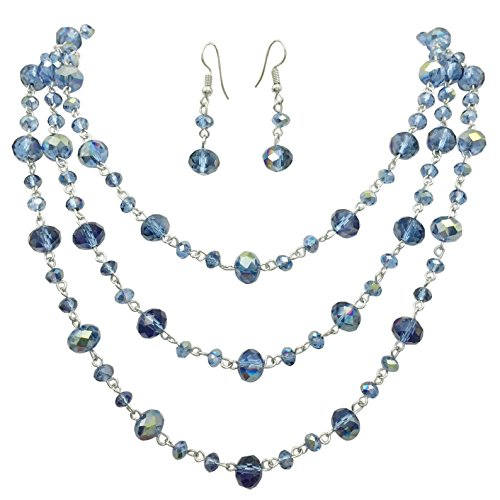 (3 Row Layered Beveled Glass Beaded Boutique Style Necklace and Earrings Set (Montana Blue))