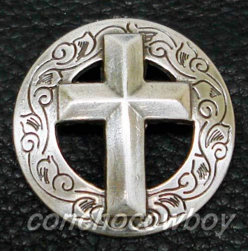 ShopForAllYou Conchos Western Saddle Horse TACK Engraved Christian Cross Concho 1-1/8