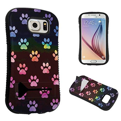 DuroCase ® Samsung Galaxy S6 SM-G920 Kickstand Case - (Watercolor Rainbow Paw Print)