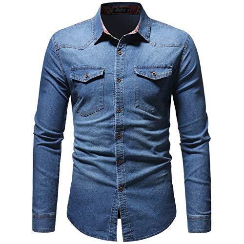 XuBa 2019 Hombres Moda Casual Camisa de Manga Larga de Mezclilla Slim Fit Hombre Camisa de Vestir de Negocios sociales Marca...