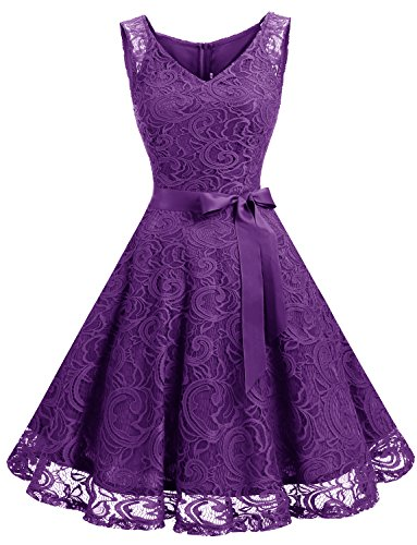 Dressystar Women Floral Lace Bridesmaid Party Dress Short Prom Dress V Neck M Purple