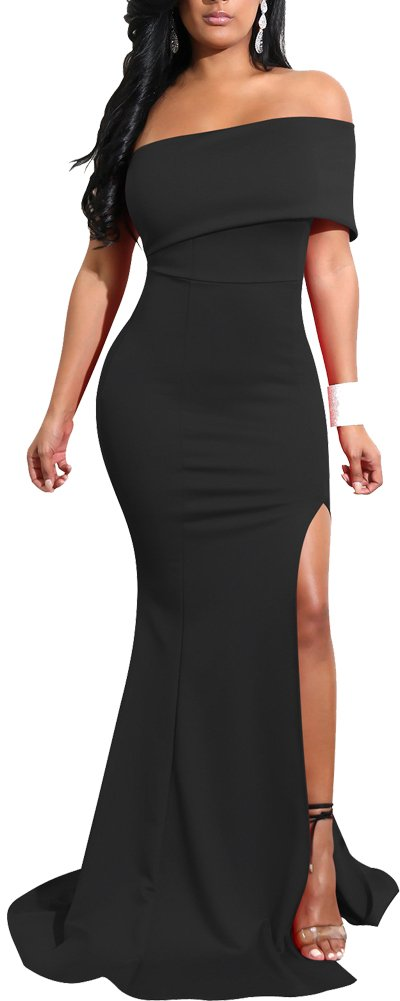 Mermaid Dresses Slit Stretchy Solid Bodycon Party Cocktail Club Long Dress 2018 Spring Summer M 4 6 Black ¡­