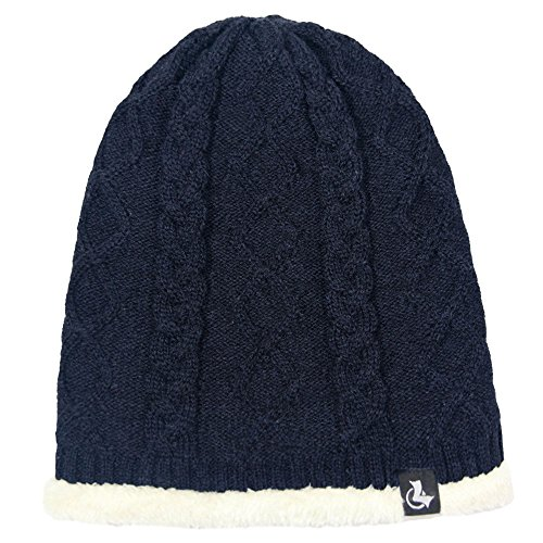 LETHMIK Thick Twist Knit Beanie,Warm Slouchy Hat Winter Ski Cap with Cashmere Lining Navy