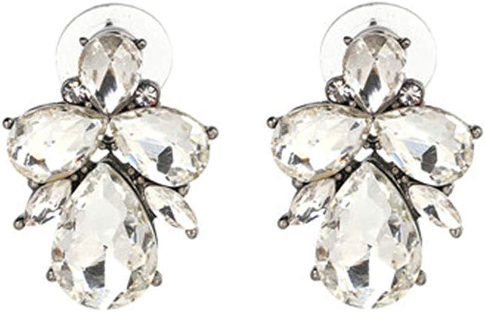 Pendientes ZZHH Pendientes de moda Pendientes de diamantes de imitación de metal dulce y piedras preciosas Pendientes de mujer Pendientes de cristal Al por mayorBlanco