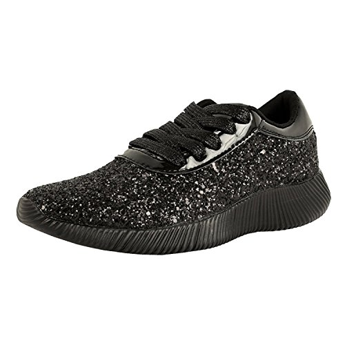 - Womens Wedge Platform Fashion Sneaker Glitter Metallic Lace up Sparkle Slip On Street Casual Running Shoes Black 6.5