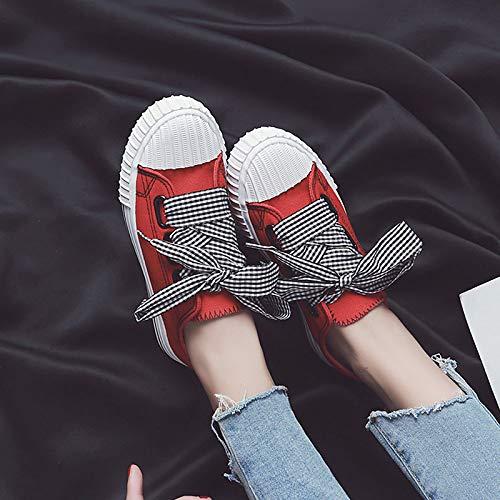 Red de Comfort ZHZNVX Mujer Toe Blanco Zapatos Heel Poliuretano Flat Summer PU Negro Rojo Sneakers Round qqYZr5