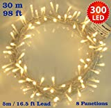 Fairy Lights 300 LED Warm White indoor Christmas Tree Lights String Lights - 8 Functions 30m / 98ft Power/Mains Operated Ideal for Christmas Tree Festive Wedding Birthday Party & Bedroom Decorations - Indoor Use Only
