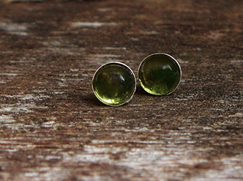 Recycled Vintage Olive Green Wine Bottle Sterling Silver Post Earrings