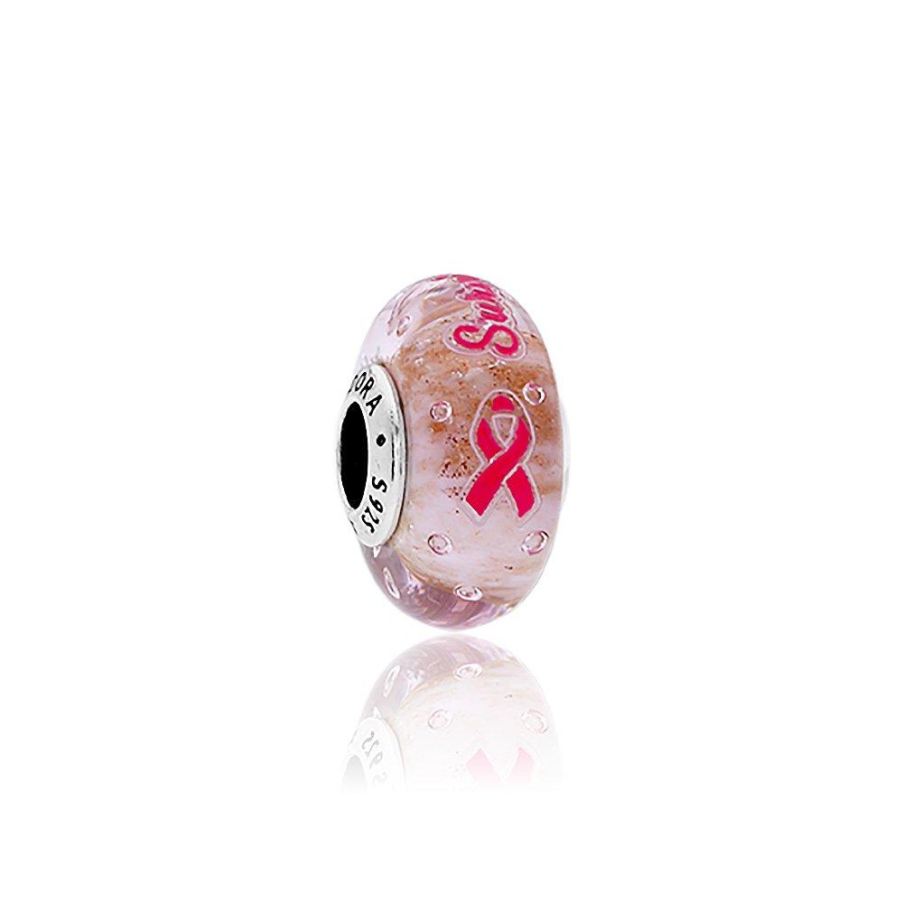 Pandora Survivor Silver Charm with Pink Murano Glass & Enamel ENG7916701 by PANDORA