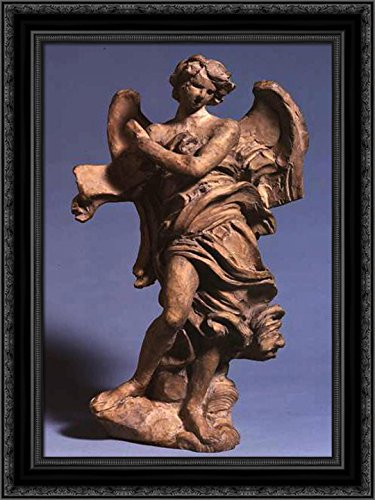 Standing Angel with Scroll 19x24 Black Ornate Wood Framed Ca