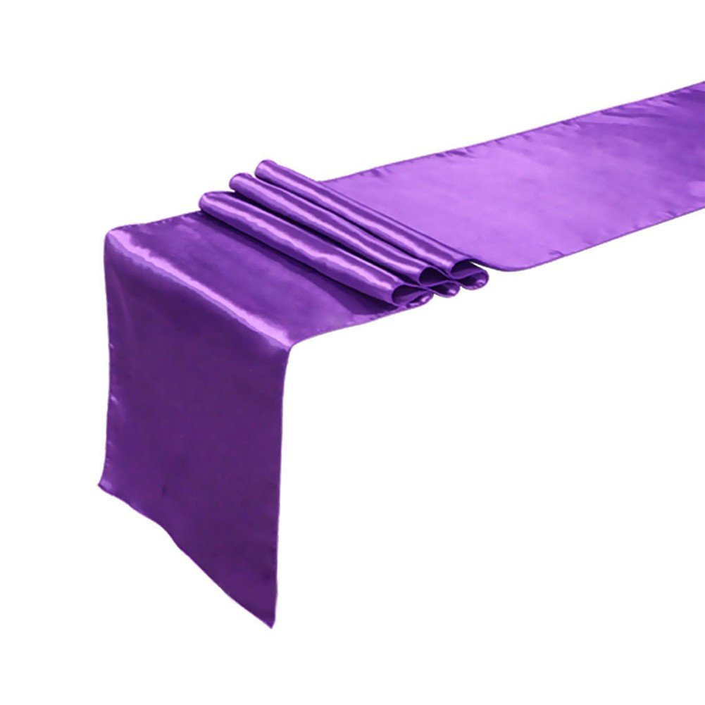 FEESHOW Satin Table Runners 12 x 108 inch for Wedding Banquet Decoration, Bright Silk and Smooth Fabric Party Table Runner Purple One Size