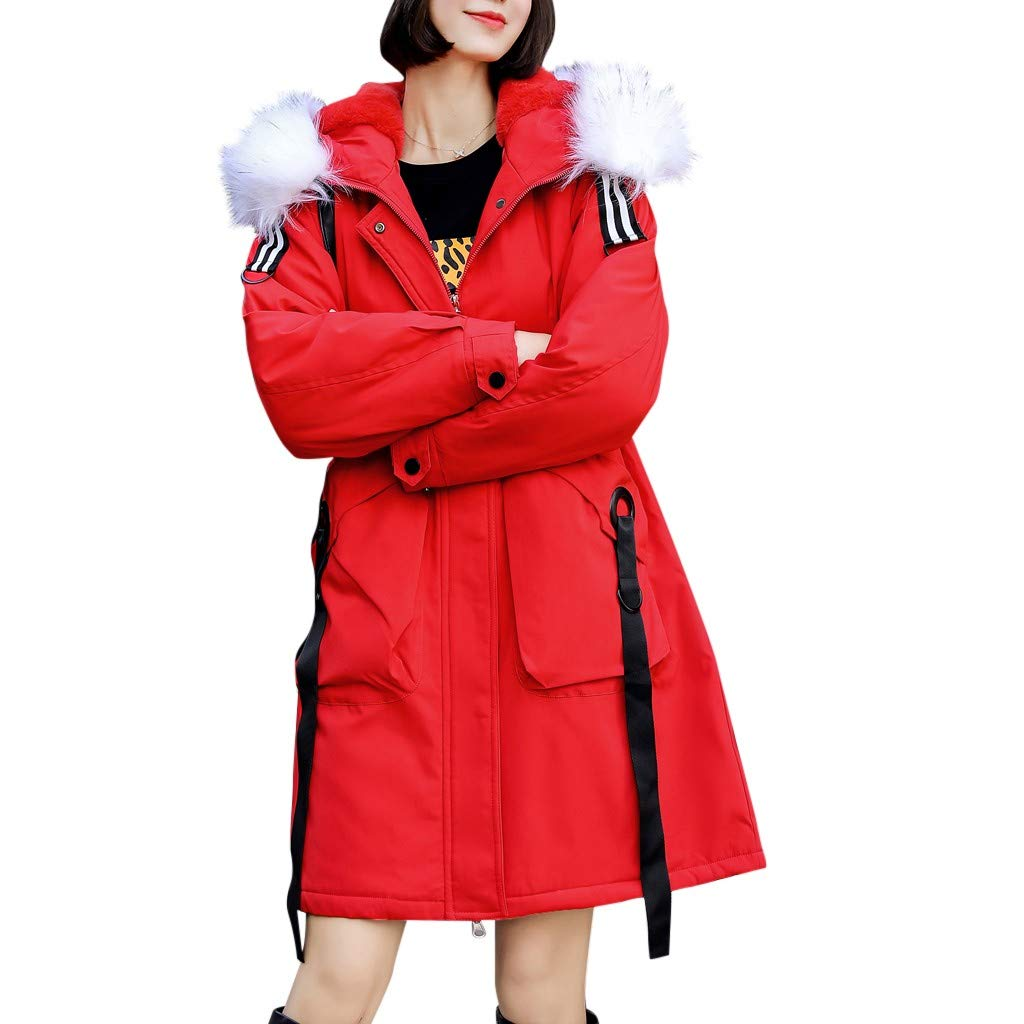 HebeTop Women Plus Size Winter Coats Faux Fur Lined Parka Cotton Padded Jacket Red by ▶HebeTop◄➟HOT SALES