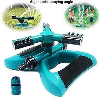 Buyplus Garden Watering Sprinkler - 360° Rotating Automatic Lawn Sprinkler, 3 Arm Sprayer Spin Sprinkler Head for Yard, Garden Hose Connector