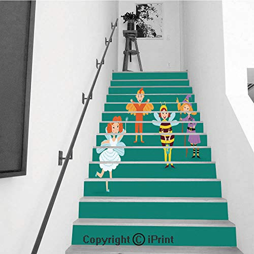 Stair Stickers Wall Stickers,13 PCS Self-Adhesive,Stair Riser Decal for Living Room, Hall, Kids Room,Cute Kids Wearing Christmas Costumes Vector Characters Little People Isolated Cheerful Children h