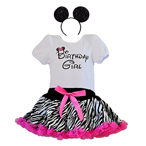 [Birthday Girl T-Shirt, Leopard & Zebra Print Tutu with Headband 3 Pcs Set (Age 6-ZBH-hp)] (Jungle Outfit)