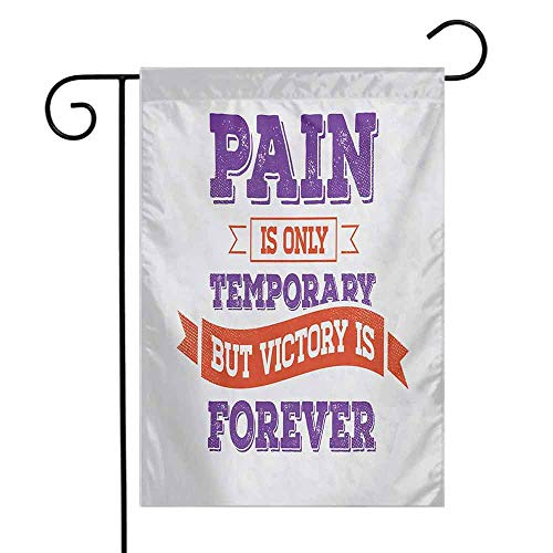 (Mannwarehouse Fitness Garden Flag Grunge Concept with Inspirational Phrase Retro Style Victory Win Wish Premium Material W12 x L18 Purple Scarlet Coconut)