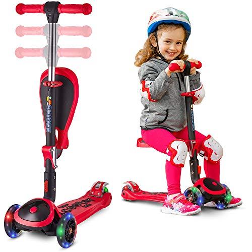 SKIDEE Scooter for Kids with Folding Seat – 2-in-1 Adjustable 3 Wheel Kick Scooter for Toddlers...