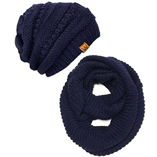 - Wrapables Winter Warm Knitted Infinity Scarf and Beanie Hat Set, Navy