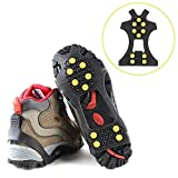 Baynne 10 Studs Anti-Skid Snow Shoes Cover Durable Spikes Grips Crampon Cleats(Size:XL)(Color:Black)