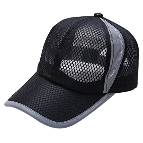 Vertily Hat Men Mesh Breathable Lightweight Quick-Dry Adjustable Baseball Cap (Black)