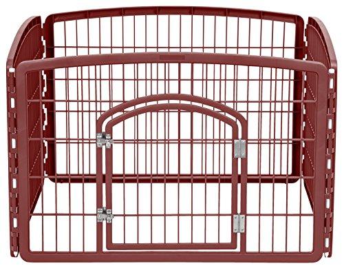 IRIS 24'' Exercise 4-Panel Pet Playpen with Door, Brown
