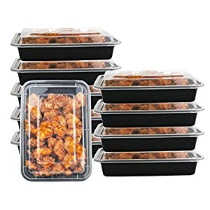 1 Compartment 24 oz Portion Control Lunch Box and Food Storage Container Set -Black- 10 Pack 51wh3NoJgWL  Get Healthy Today! 51wh3NoJgWL