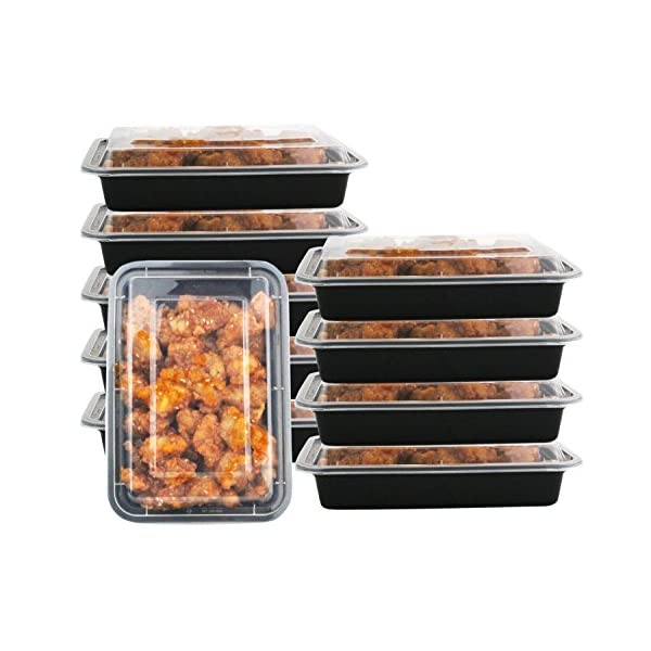 1 Compartment 24 oz Portion Control Lunch Box and Food Storage Container Set -Black- 10 Pack 51wh3NoJgWL