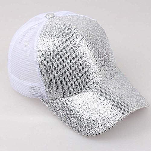Fhuuly Nouveau Style Femme Fille Casquette de Baseball de Queue de Cheval Paillettes Brillant D/ésordre Bonnet Snapback Bonnet de Soleil