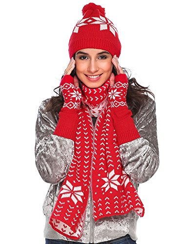 Winter Warm Knitted Scarf Beanie Hat and Gloves Set Men & Womens Soft Stretch Hat Scarf and Mitten Set