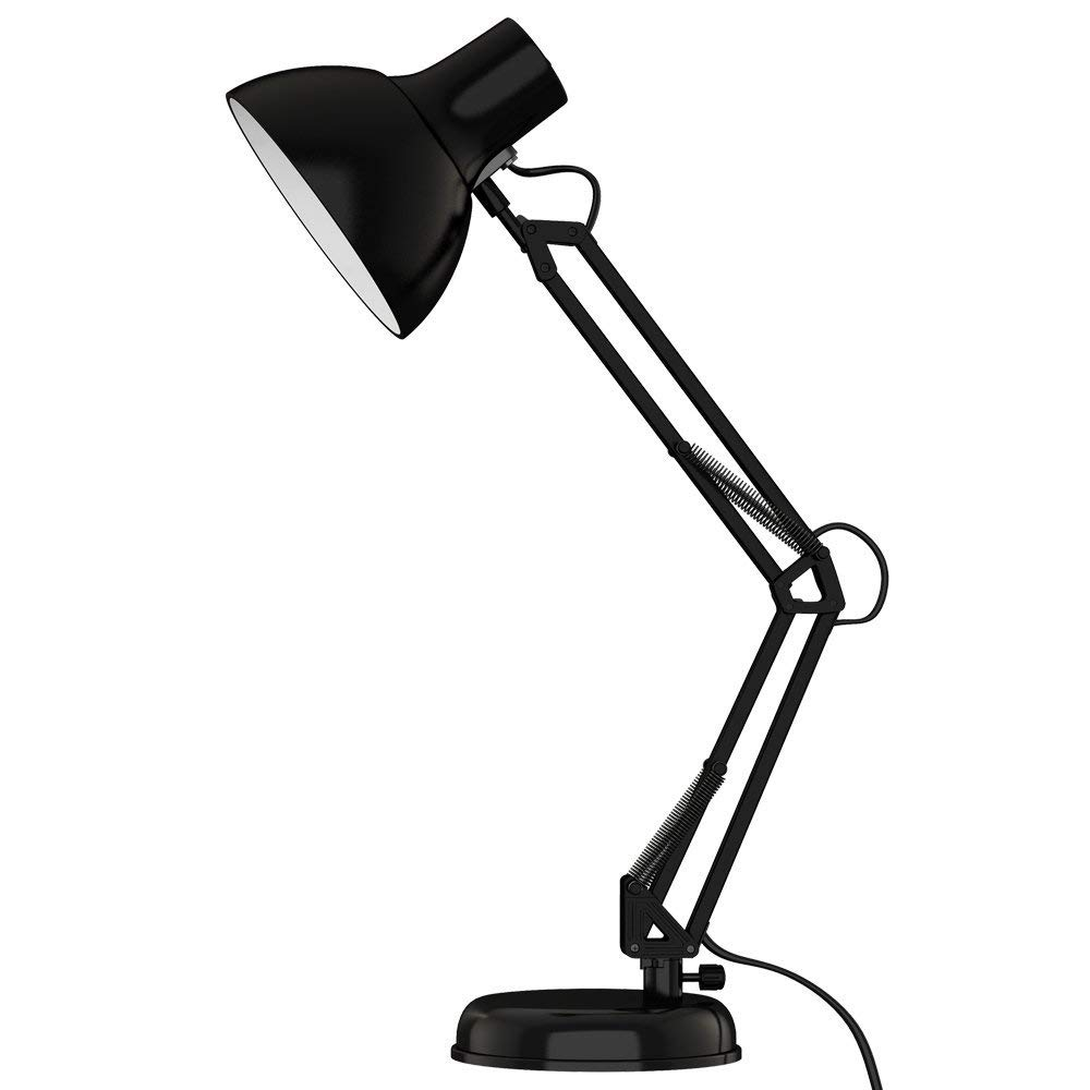 ToJane Black Desk Lamp, Adjustable Swing Arm Small Desk Lamp Office, Architect Table Lamp Clamp(Bulb Sold Separate)