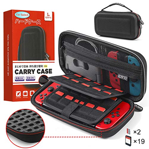 lipeno Case for Nintendo Switch, Anti-Impact Carrying Case for Nintendo Switch Accessories & Console, 19+2 Card Slots, Hard EVA Portable Travel Case for Switch with Build-in Pocket and Handle