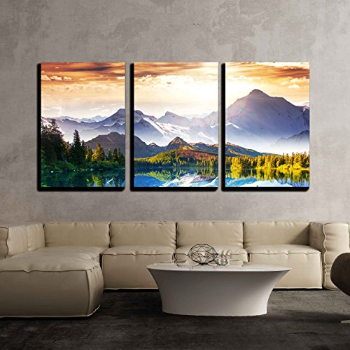 wall26 - 3 Piece Canvas Wall Art - Fantastic Sunny Day is in Mountain Lake. Creative Collage. Beauty World. - Modern Home Decor Stretched and Framed Ready to Hang - 24