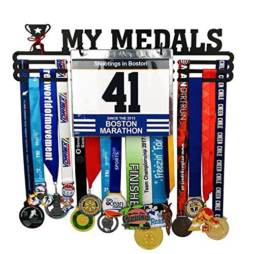 California Goods Bib Sports Medal Hanger Display Holder for 60 Medals Unisex Medal Hanger,Best Gifts Medal Display Honors Holder,1PC Wristband Pocket Included - Plaque Award Hockey